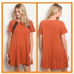 Appealing Rust T- Shirt Dress